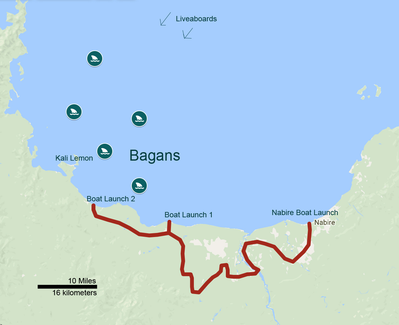adventure map boat route bagan swim with whale sharks cenderawasih bay nabire papua kwatisore